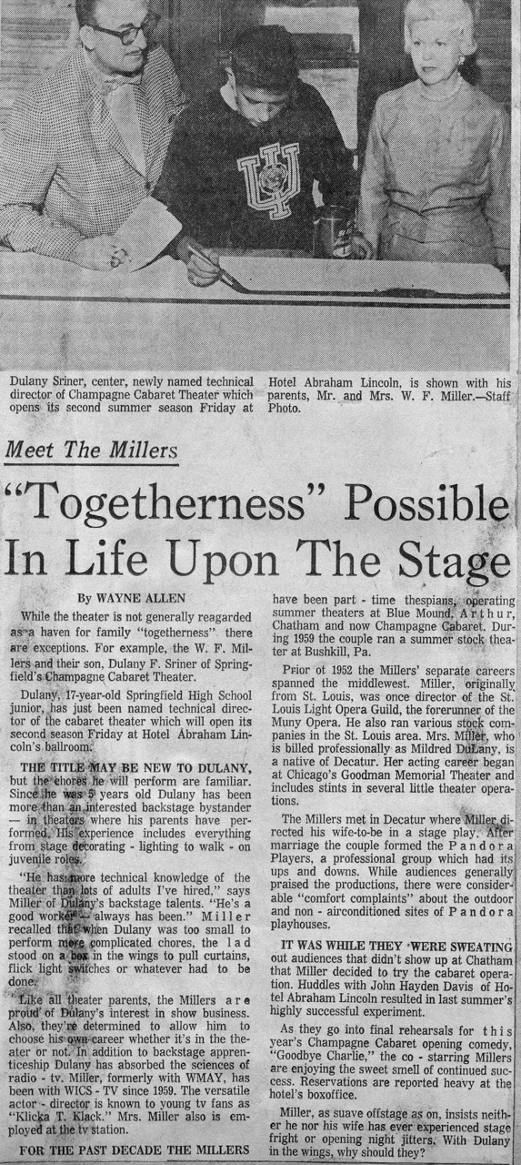 Newspaper article regarding the family in the theater