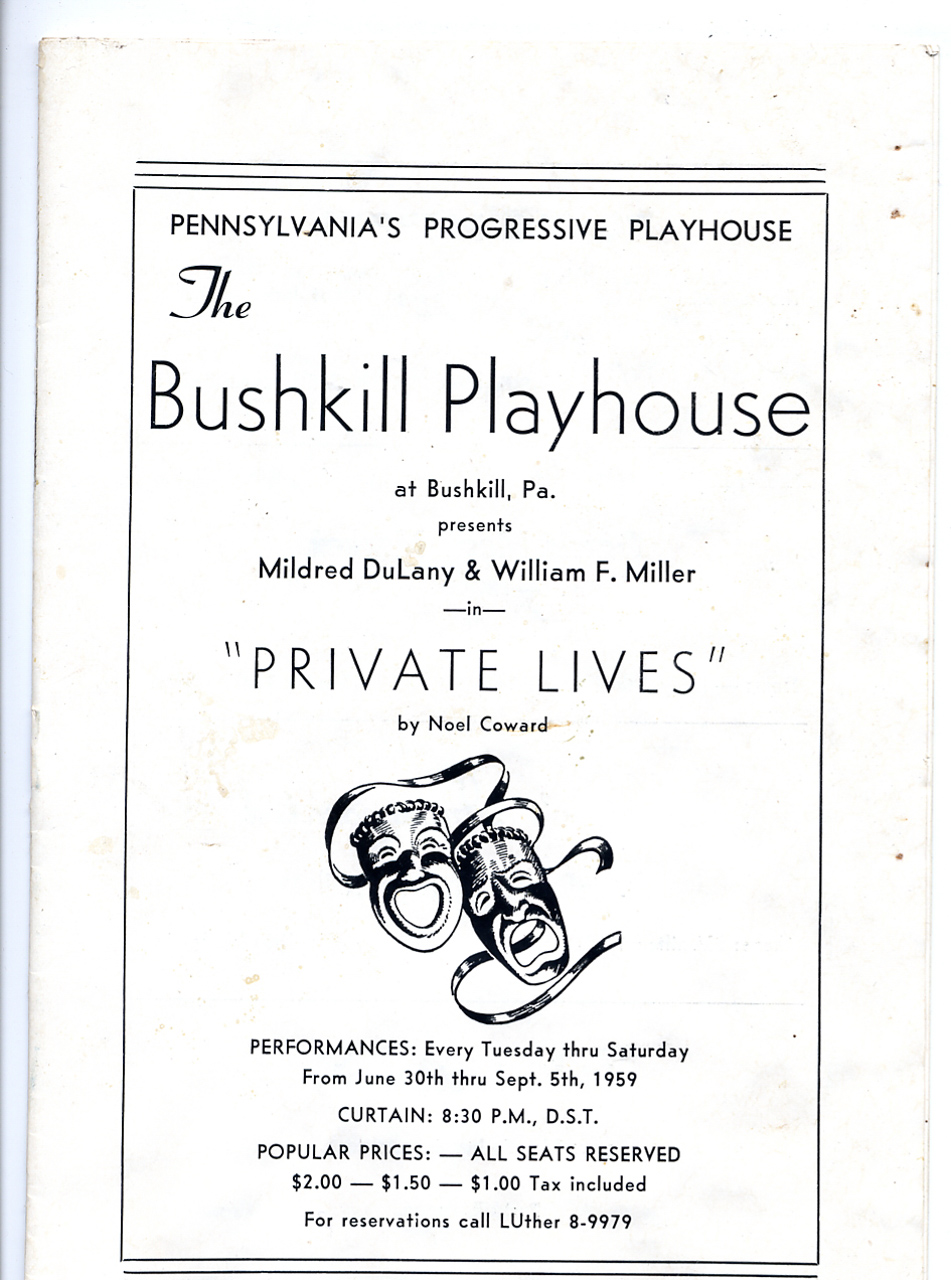 Bushkill Playhouse program cover for Private Lives
